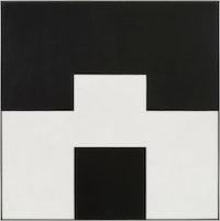 "Frederick Hammersley, ""Altered ego #4,"" 1971. Oil on linen. 45 x 45""."
