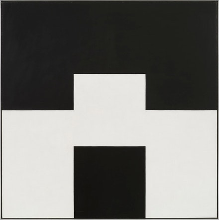 "Frederick Hammersley, ""Altered ego #4,"" 1971. Oil on linen. 45 x 45""."