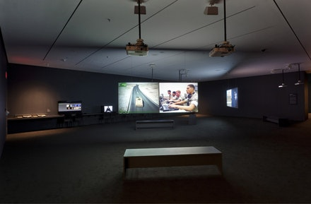 Installation view of <i>Harun Farocki: Images of War (at a Distance)</i> at the Museum of Modern Art. Photo: Jonathan Muzikar.</p>