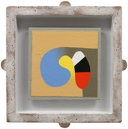 "Frederick Hammersley, ""Just so."" Oil on linen. 10 1/4 x 10 1/4""."