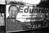 Desecrated Montealegre billboard, Managua, Nicaragua.  Photos by Brian J. Carreira.
