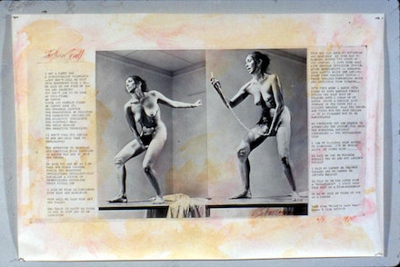 <i>Interior Scroll</i> (1975) Photo collage with text: beet juice, urine and coffee photographic print; 72w x 48h inches. (Photos copyright Anthony McCall). Copyright Carolee Schneemann