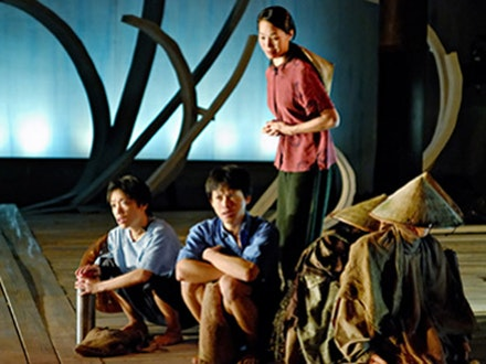 Left to right: Genevieve DeVeyra, Dinh W. Doan, Karen Tsen Lee and puppeteer Timothy McCowan Reynolds in Ma-Yi Theater Company's production of Qui Nguyen's Trial By Water. Photo by David Gochfeld.