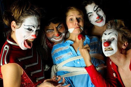 <i>Not Clown</i>, Lee Eddy as AGNES, Rommel Sulit as SAM, Elizabeth Doss as LINDA, Mark Stewart as INGUS, Josh Meyer as SAM.