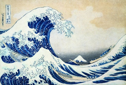 """The Great Wave off Kanagawa."" c. 1831. Wood cut, paper, ink. Copyright Sumida City."