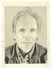 Portrait of Ken Johnson. Pencil on paper by Phong Bui.