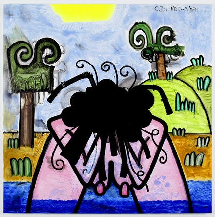 "Carroll Dunham, ""Bather (one), "" 2009. Mixed media on canvas, 71 x 71"". © Carroll Dunham; courtesy Gladstone Gallery, New York."