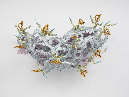 "Richard Van Buren, ""Shula's Dance,"" 2011. Thermoplastic, acrylic paint, and shells. 36 x 65 x 32"". Courtesy of the artist and Gary Snyder Gallery, New York."