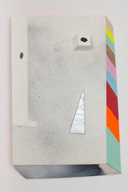 """Lazy I,"" 2011. Foam board, Polystyrene, paper and acrylic paint. 17 x 11 1/4 x 2 1/2˝."