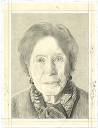 Portrait of the Rosamond Bernier. Pencil on paper by Phong Bui.