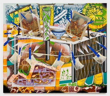 "Lari Pittman, ""Seance,"" 2011. Acrylic, Cel-Vinyl, and aerosol lacquer on gessoed canvas over panel. 88 x 102"". Copyright Lari Pittman. Courtesy Gladstone Gallery, New York and Brussels."