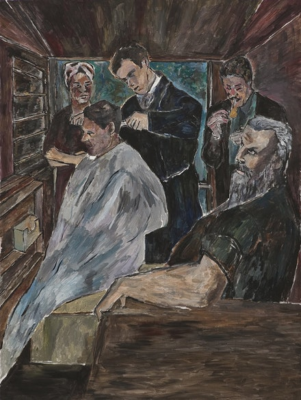 """Barber Shop,"" 2009-1010. Acrylic on canvas. Credit: Statens Museum for Kunst, Copenhagen."