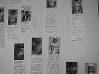"""""""Drawing Attention."""" Detail of installation, digital photos with written responses."""