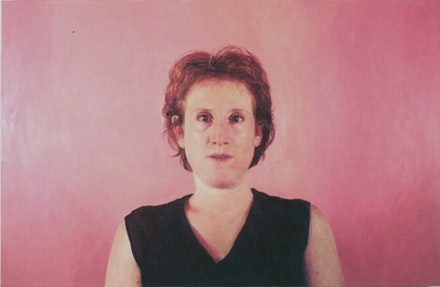 <i>Self-portrait with Pink Ground</i>, 2000, Jenny Dubnau, oil on canvas, 42 x 64