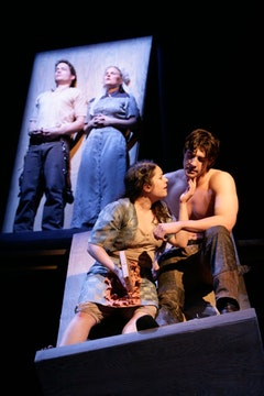 Barnaby Carpenter, Kelly McAndrew, Vanessa Aspillaga and Tug Coker in <em>The Cataract</em>. Photo courtesy of Women's Project and Productions.