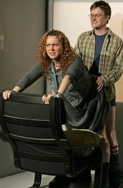 <i>Betsy (Frances Mercanti-Anthony) and the Guy as Karl (Steven Boyer).  I (HEART) KANT, NYC, 2006. Directed by Dylan McCullough. Photo Credit: Carol Rosegg</i>