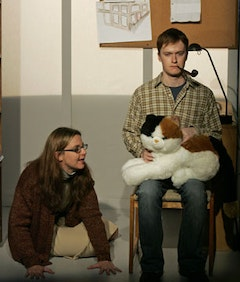 <i>Linda (Kate Benson) and the Guy as the Professor (Steven Boyer).  I (HEART) KANT, NYC, 2006. Directed by Dylan McCullough. Photo Credit: Carol Rosegg</i>