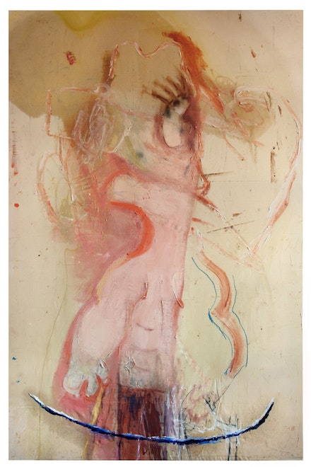 "Rita Ackermann, ""Negative Muscle,"" 2010. Oil, enamel, spray paint, molding paste, crayon, and tempera on canvas. 116 x 76"". Photo: Orcutt & Van Der Putten. Courtesy of Andrea Rosen Gallery and the artist."