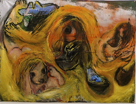 "Rita Ackermann, ""Mothership,"" 2009. Tempera, oil, acrylic, oil stick, spray paint, enamel, printed paper, acrylic and molding paste on canvas. 72 x 96"". Courtesy of Andrea Rosen Gallery and the artist."