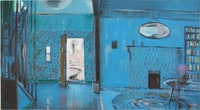"Merlin James, ""Blue Room� (1990), acrylic and mixed media on canvas. Courtesy of Sikkema Jenkins & Co."