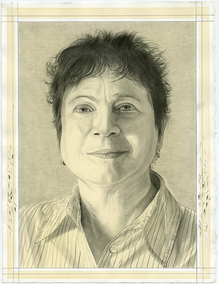 Portrait of Bonnie Marranca. Pencil on paper by Phong Bui.