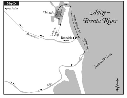 After an overland route from Pisa to Lombardy, Lucentio could get to Padua by boat, to play his part in <i>The Taming of the Shrew</i>, by taking the two gentlemen's canals in the opposite direction, sailing down the Adige to the Adriatic, and then to Padua, probably not via the Brenta River directly, but by a canal route. Courtesy of Harper Perennial, an imprint of HarperCollins Publishers.