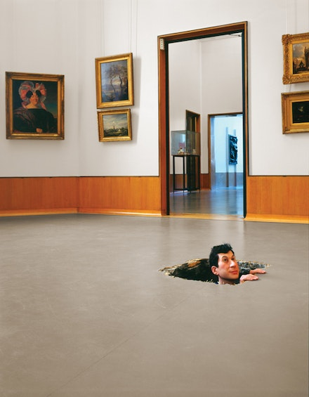 "Maurizio Cattelan, ""Untitled,"" 2001. Wax, pigment, human hair, fabric, and polyester resin, 150 x 60 x 40 cm. © Maurizio Cattelan. Photo: Attilio Maranzano, courtesy of the artist."
