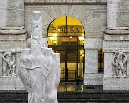 "Maurizio Cattelan, ""L.O.V.E.,"" 2010. Carrara marble, figure: 470 x 220 x 72 cm; base: 630 x 470 x 470 cm. Courtesy of the artist. © Maurizio Cattelan. Photo: Zeno Zotti, courtesy of the artist."