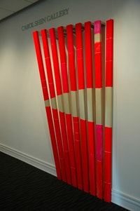 "Cordy Ryman, ""Hall Wave� (2005), painted wood installation. Courtesy of the artist."