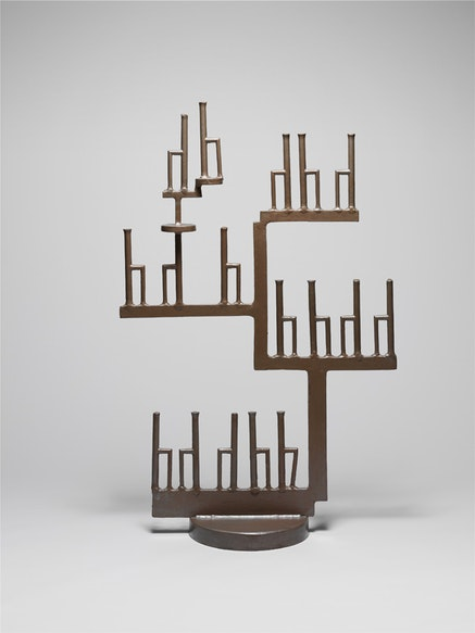 """David Smith, """"17 h's,"""" 1950. Painted steel. 44 1/2 x 29 x 12 1/2"""". The Estate of David Smith. © The Estate of David Smith/Licensed by VAGA, New York. Photo courtesy of the Estate of David Smith, photo by David Heald."""