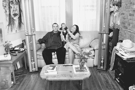Family portrait of Marni Kotak, Jason Robert Bell, and Baby Ajax, Thanksgiving Day 2011 (Photo credit: JJ Sulin).