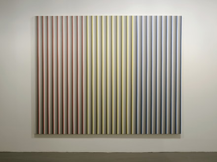 "Gabriele Evertz, ""Six Grays + RYB,"" (2006). Acrylic/canvas. 72 x 96"". Courtesy of Minus Space."