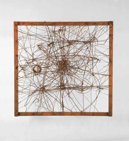 "Richard Pousette-Dart, ""Untitled (The Web),"" 1950. Wire and found objects. 50 x 50 x 18"". Courtesy of Luhring Augustine."
