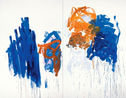 "Joan Mitchell, ""Merci,"" 1992. Oil on canvas diptych. 110 1/4 by 141 1/2"". © Estate of Joan Mitchell. Courtesy Joan Mitchell Foundation and Cheim & Read, New York."