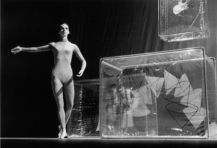 Carolyn Brown in Merce Cunningham&#146;s <i>Walkaround Time</i> (1968), with design by Jasper Johns. Photo by Oscar Bailey, courtesy Cunningham Dance Foundation.