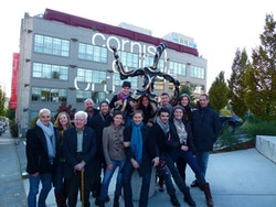 MCDC at dedication of statue honoring Merce Cunningham, Cornish College of the Arts, Seattle, Washington, October 25, 2011.  Photo: Anna Finke.