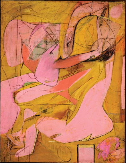 "Willem de Kooning, ""Pink Angels,"" c. 1945. Oil and charcoal on canvas. 52 x 40″. Frederick R. Weisman Art Foundation, Los Angeles. © 2011 The Willem de Kooning Foundation/Artists Rights Society (ARS), New York."