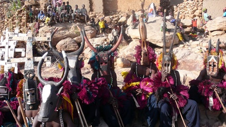 The colorful Dogon mask ceremony from Episode 2  of the show.