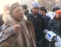 "Joseph ""Jazz"" Hayden speaks to New York 1 during the Courthouse Protests. Allthingsharlem.com."