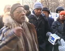 "Joseph ""Jazz"" Hayden speaks to New York 1 during the Courthouse Protests. Allthingsharlem.com."