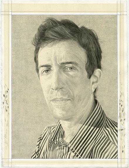 Portrait of Vincent Katz. Pencil on paper by Phong Bui.