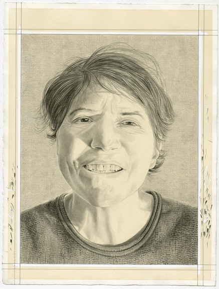 Portrait of Rosalind Krauss. Pencil on paper by Phong Bui.
