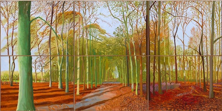 "David Hockney. ""Woldgate Woods, 21, 23 & 29,"" November 2006. Oil on 6 canvases. 182 x 366 cm. Courtesy of the artist. © David Hockney. Photo credit: Richard Schmidt."
