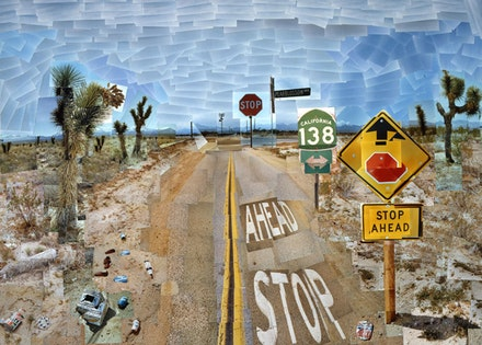 "David Hockney. ""Pearblossom Highway, 11-18,"" April 1986 #1. Photographic collage. 119.4 x 163.8 cm. The J. Paul Getty Museum, Los Angeles. Gift of David Hockney. © David Hockney. Exhibition organized by the Royal Academy of Arts, London in collaboration with the Guggenheim Museum, Bilbao and the Museum Ludwig, Cologne."