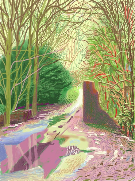 "David Hockney. ""The Arrival of Spring in Woldgate, East Yorkshire in 2011 (twenty eleven) – 2 January."" iPad drawing printed on paper. 144.1 x 108 cm; one of a 52-part work. Courtesy of the artist. © David Hockney. Exhibition organized by the Royal Academy of Arts, London in collaboration with the Guggenheim Museum, Bilbao and the Museum Ludwig, Cologne."