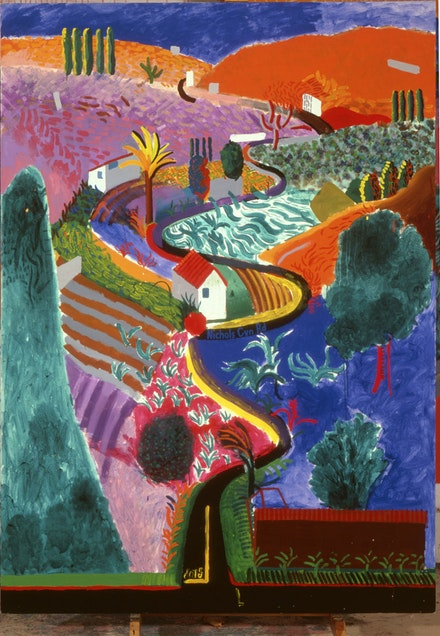 "David Hockney. ""Nichols Canyon,"" 1980. Acrylic on canvas. 213.4 x 152.4 cm. Private collection. © David Hockney. Exhibition organized by the Royal Academy of Arts, London in collaboration with the Guggenheim Museum, Bilbao and the Museum Ludwig, Cologne."