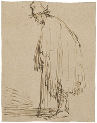 "Rembrandt Harmensz, van Rijn, ""A Beggar, Facing Left, Leaning on a Stick."" Pen and brown ink. 4 7/16 x 3 1/2"". Courtesy of the Morgan Library & Museum, New York."