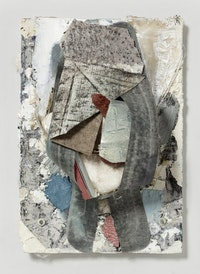 "Joseph Montgomery, ""Image One Hundred Twenty-Eight,"" 2009–2011. Canvas, clay, epoxy, fiberglass, marble, oil, paper, sponge, and wax on grout and plastic. 11 1/2 x 8 x 3 3/4"". Photo credit: Cathy Carver. Courtesy of the artist and Laurel Gitlen, New York."