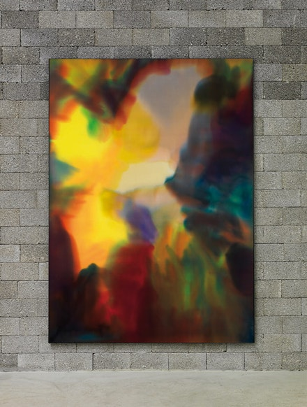 "Matti Braun, ""Untitled,"" 2011.  Fabric dye on silk, coated aluminum frame. Courtesy BQ Berlin. Photo credit: Roman März."