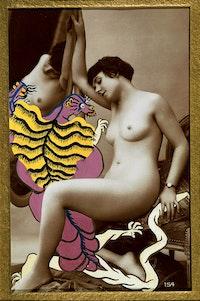 """Georges Hugnet. """"La Granivelle d'Austerlitz (The Austerlitz Spandle)."""" No. 30 from the series <em>La Vie Amoureuse des Spumifères (The Love Life of the Spumifers)</em>, 1947-48. Gouache on vintage (ca. 1920). Carte postale 5 3/8″ x 3 3/8″. Image 9 3/4″ x 7 1/4″ mount."""